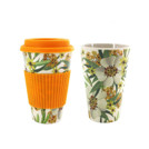 Biodegradable bamboo reusable coffee cup with lid and silicone insulation cover with an image.